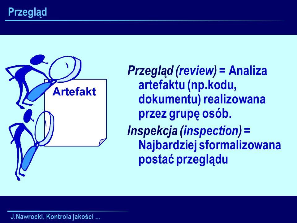 J.Nawrocki, Kontrola jakości... Artefakt Przegląd Przegląd (review) = Analiza artefaktu (np.kodu, dokumentu) realizowana przez grupę osób. Inspekcja (