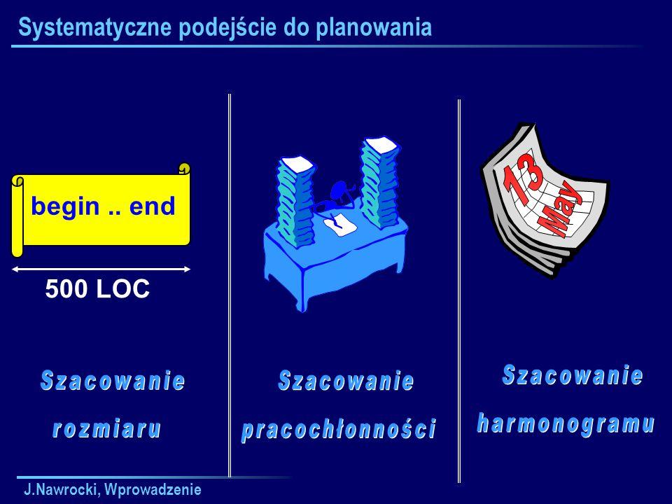 J.Nawrocki, Wprowadzenie Systematyczne podejście do planowania begin.. end 500 LOC