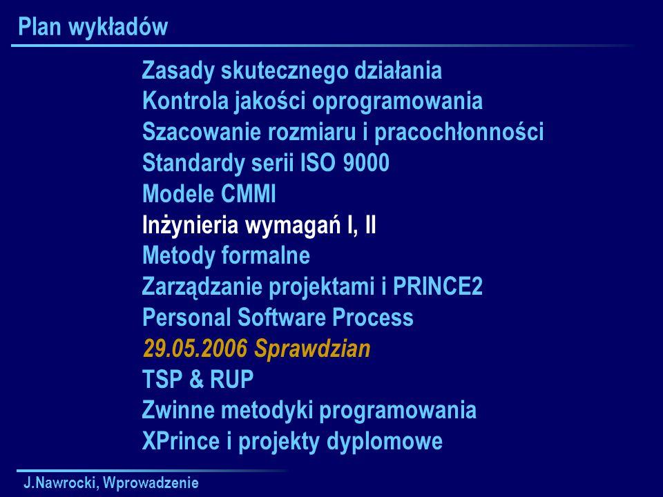J.Nawrocki, Wprowadzenie Plan wykładów Zasady skutecznego działania Kontrola jakości oprogramowania Szacowanie rozmiaru i pracochłonności Standardy se