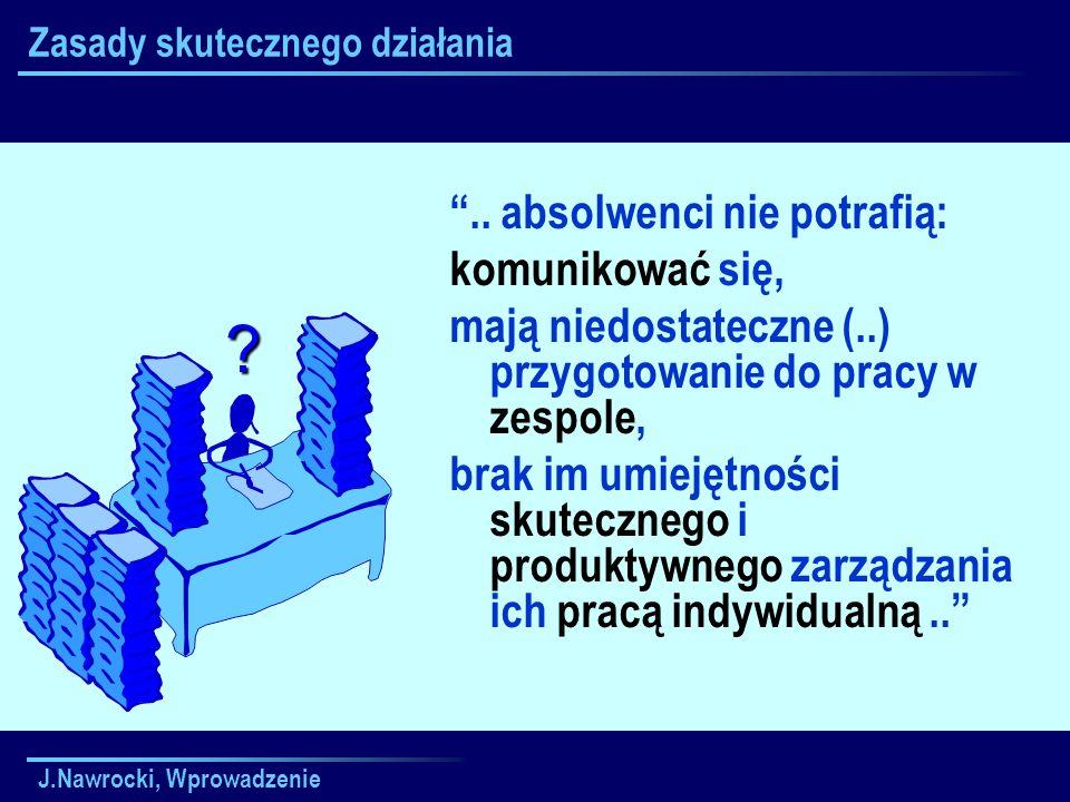 J.Nawrocki, Wprowadzenie Zasady skutecznego działania.. absolwenci nie potrafią: komunikować się, mają niedostateczne (..) przygotowanie do pracy w ze