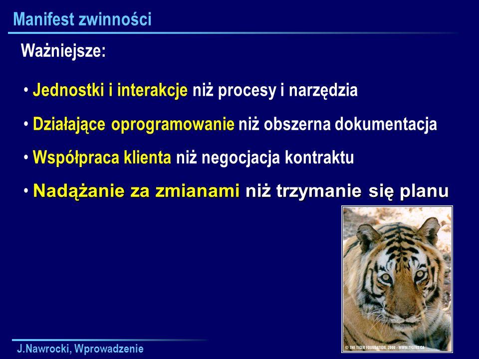 J.Nawrocki, Wprowadzenie Manifest zwinności Jednostki i interakcje niż procesy i narzędzia Ważniejsze: Działające oprogramowanie niż obszerna dokument