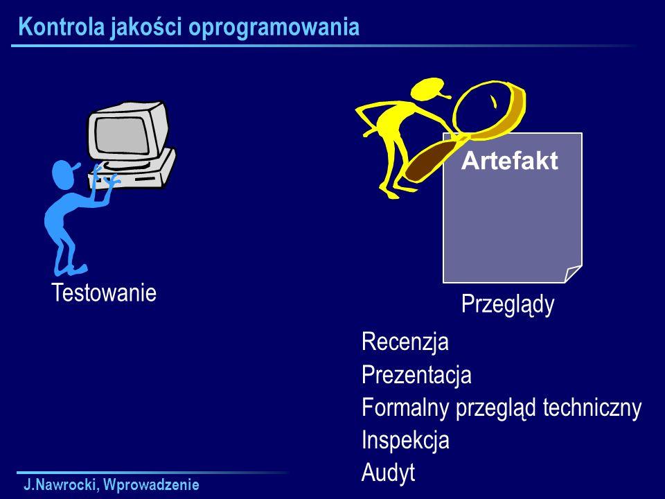 J.Nawrocki, Wprowadzenie Kontrola jakości oprogramowania Testowanie Artefakt Przeglądy Recenzja Prezentacja Formalny przegląd techniczny Inspekcja Aud