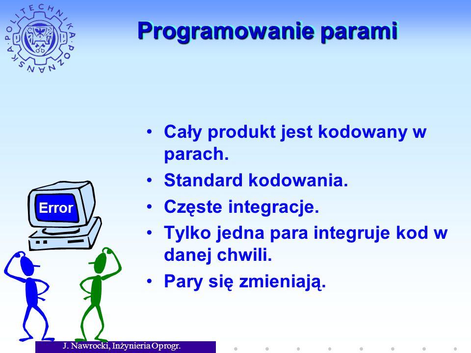 J. Nawrocki, Inżynieria Oprogr. Programowanie parami Cały produkt jest kodowany w parach.