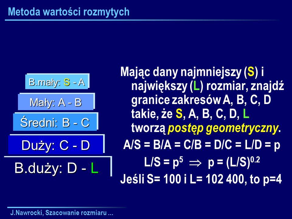 J.Nawrocki, Szacowanie rozmiaru... Metoda wartości rozmytych Mając dany najmniejszy (S) i największy (L) rozmiar, znajdź granice zakresów A, B, C, D t