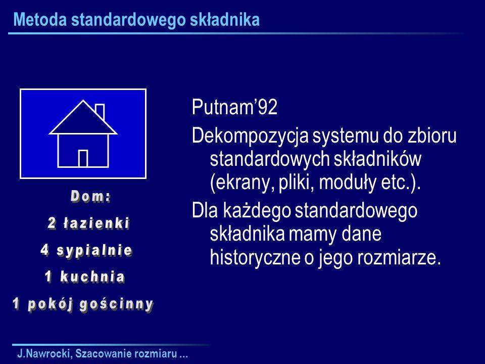 J.Nawrocki, Szacowanie rozmiaru... Metoda standardowego składnika Putnam92 Dekompozycja systemu do zbioru standardowych składników (ekrany, pliki, mod