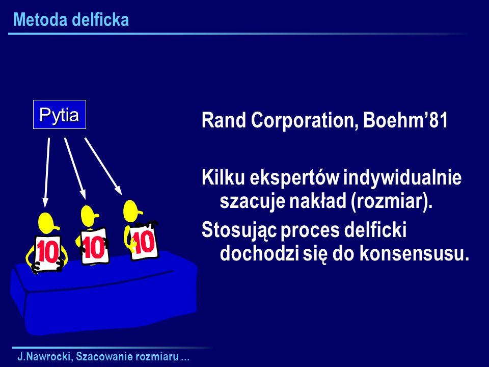J.Nawrocki, Szacowanie rozmiaru... Metoda delficka Rand Corporation, Boehm81 Kilku ekspertów indywidualnie szacuje nakład (rozmiar). Stosując proces d
