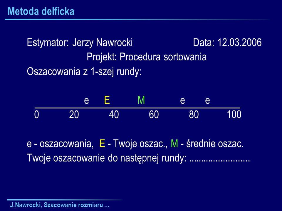 J.Nawrocki, Szacowanie rozmiaru... Metoda delficka Estymator: Jerzy Nawrocki Data: 12.03.2006 Projekt: Procedura sortowania Oszacowania z 1-szej rundy