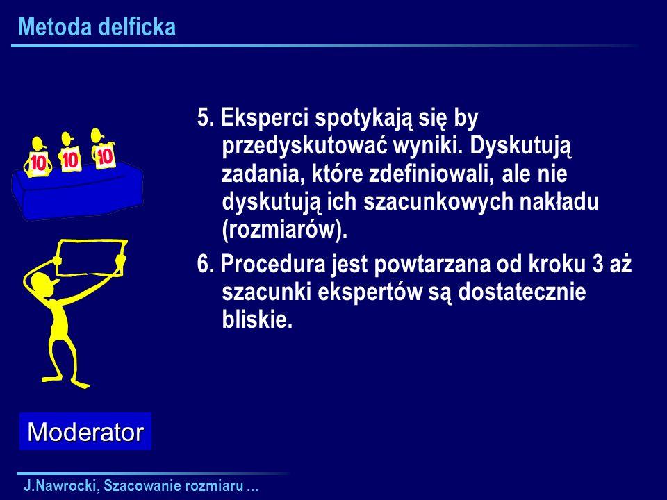 J.Nawrocki, Szacowanie rozmiaru... Metoda delficka 5. Eksperci spotykają się by przedyskutować wyniki. Dyskutują zadania, które zdefiniowali, ale nie