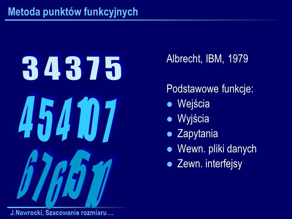 J.Nawrocki, Szacowanie rozmiaru... Metoda punktów funkcyjnych Albrecht, IBM, 1979 Podstawowe funkcje: Wejścia Wyjścia Zapytania Wewn. pliki danych Zew