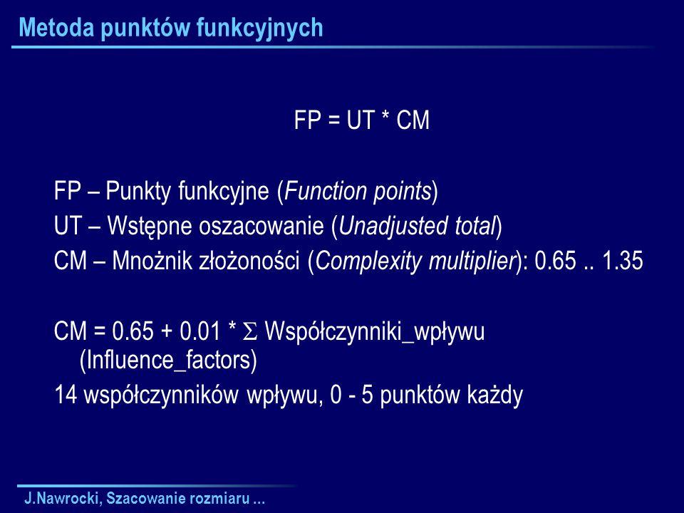 J.Nawrocki, Szacowanie rozmiaru... Metoda punktów funkcyjnych FP = UT * CM FP – Punkty funkcyjne ( Function points ) UT – Wstępne oszacowanie ( Unadju