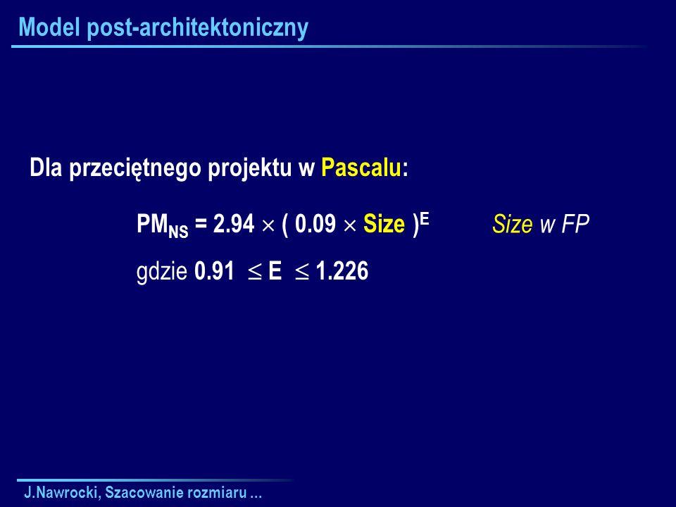 J.Nawrocki, Szacowanie rozmiaru... Model post-architektoniczny Size w FP Dla przeciętnego projektu w Pascalu: PM NS = 2.94 ( 0.09 Size ) E gdzie 0.91