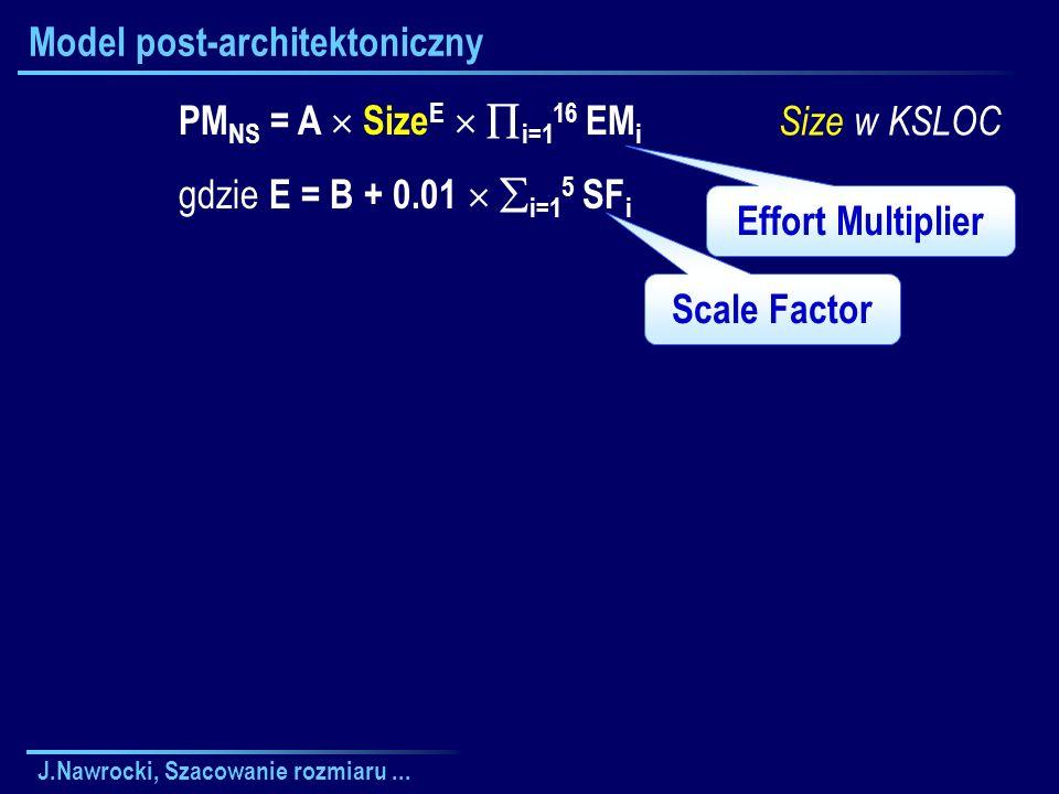J.Nawrocki, Szacowanie rozmiaru... Model post-architektoniczny Effort Multiplier Scale Factor PM NS = A Size E i=1 16 EM i gdzie E = B + 0.01 i=1 5 SF
