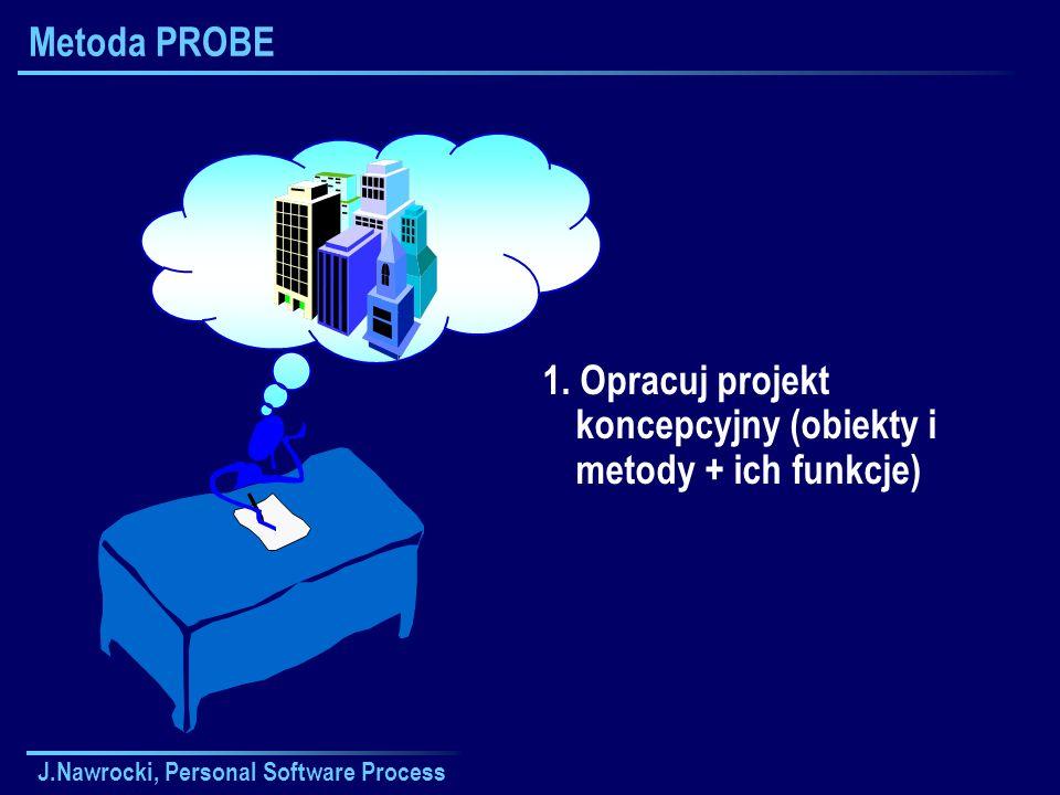 J.Nawrocki, Personal Software Process Metoda PROBE 1. Opracuj projekt koncepcyjny (obiekty i metody + ich funkcje)