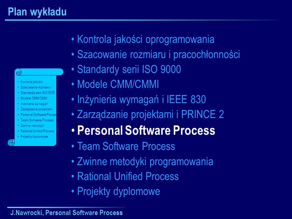 J.Nawrocki, Personal Software Process Syndrom LOOP LOOPLOOP ate (późno) oor quality (kiepska jakość) ver budget (przekroczony budżet) vertime (nadgodziny) Loop