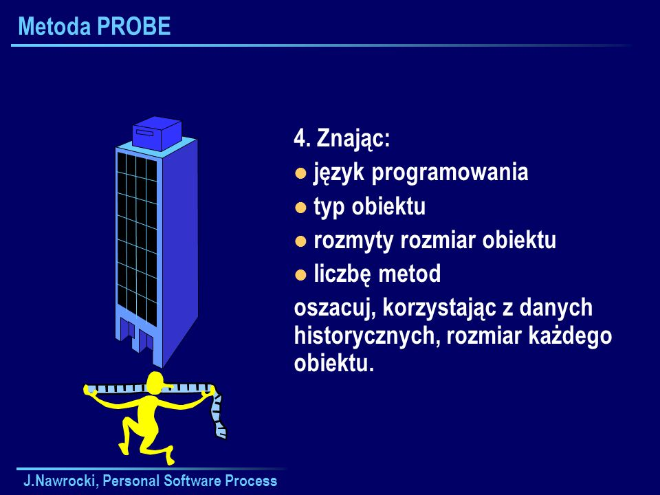 J.Nawrocki, Personal Software Process Metoda PROBE 4. Znając: język programowania typ obiektu rozmyty rozmiar obiektu liczbę metod oszacuj, korzystają