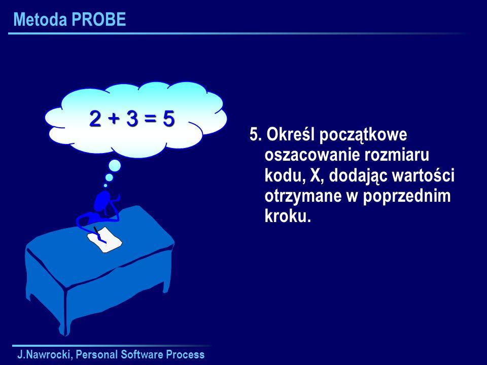 J.Nawrocki, Personal Software Process Metoda PROBE 5. Określ początkowe oszacowanie rozmiaru kodu, X, dodając wartości otrzymane w poprzednim kroku. 2