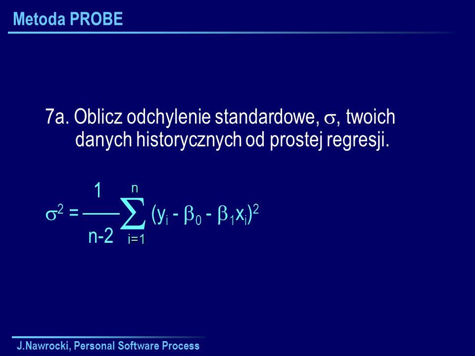 J.Nawrocki, Personal Software Process Metoda PROBE 7a. Oblicz odchylenie standardowe,, twoich danych historycznych od prostej regresji. 1 2 = (y i - 0
