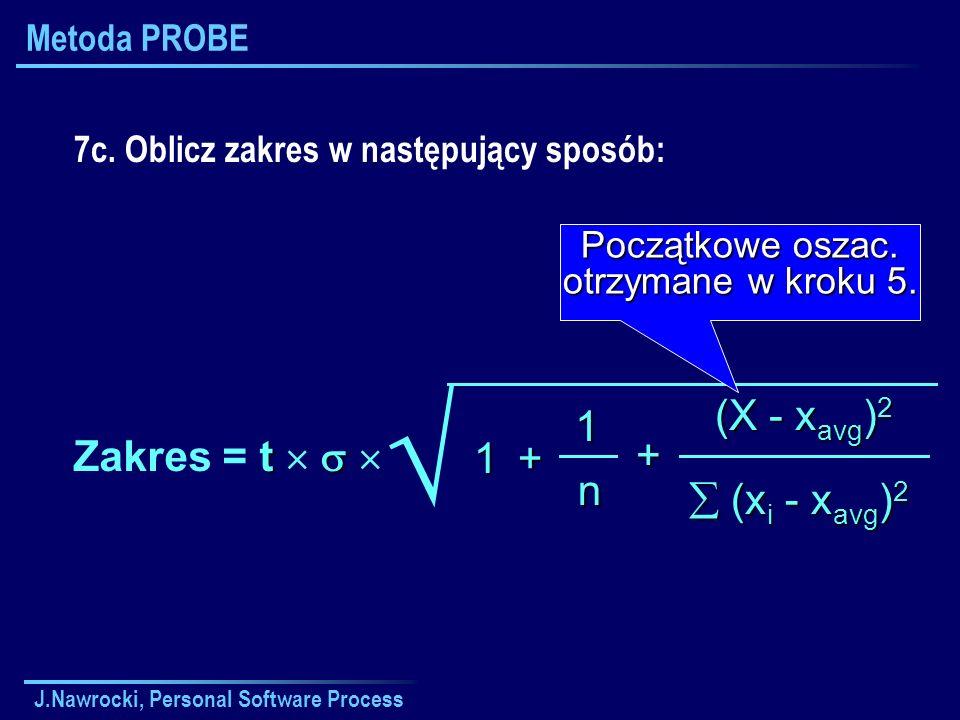 J.Nawrocki, Personal Software Process Metoda PROBE (X - x avg ) 2 (x i - x avg ) 2 (x i - x avg ) 2 + 1 n +1 t Zakres = t 7c. Oblicz zakres w następuj