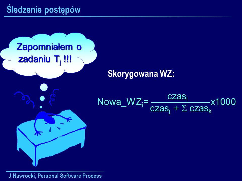 J.Nawrocki, Personal Software Process Zapomniałem o Zapomniałem o zadaniu T j !!! Śledzenie postępów Skorygowana WZ: Nowa_WZ i = x1000 czas i czas j +