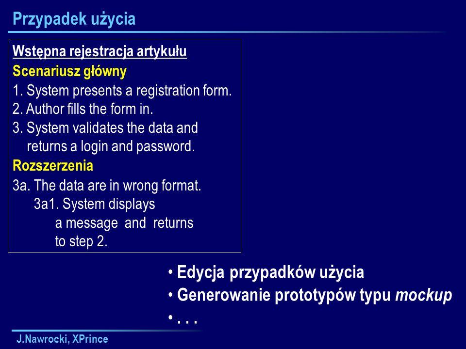 J.Nawrocki, XPrince Przypadek użycia Wstępna rejestracja artykułu Scenariusz główny 1.