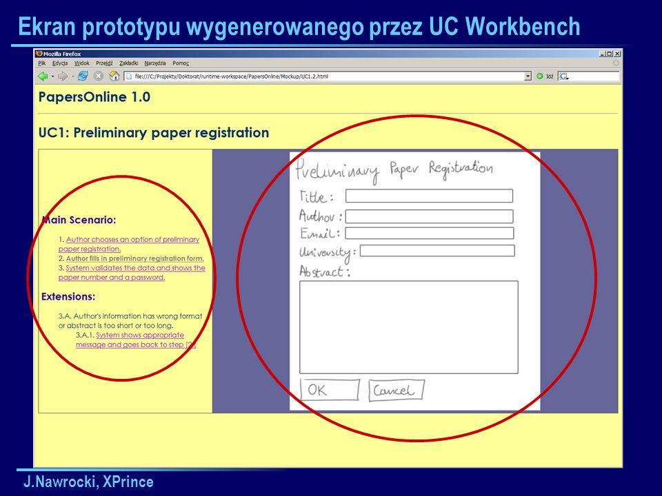 J.Nawrocki, XPrince Ekran prototypu wygenerowanego przez UC Workbench