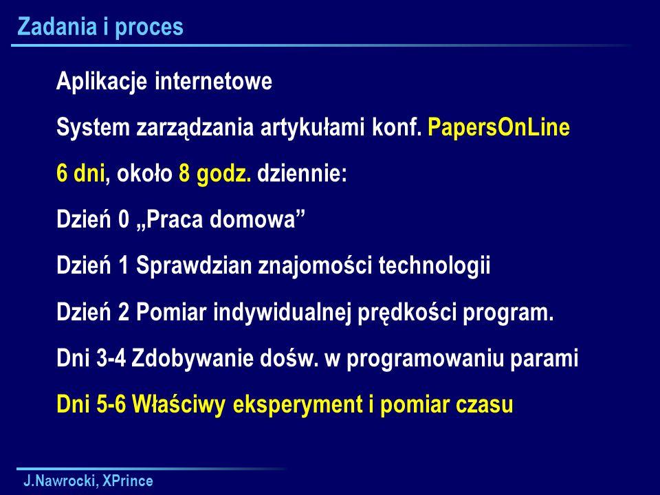 J.Nawrocki, XPrince Zadania i proces Aplikacje internetowe System zarządzania artykułami konf.