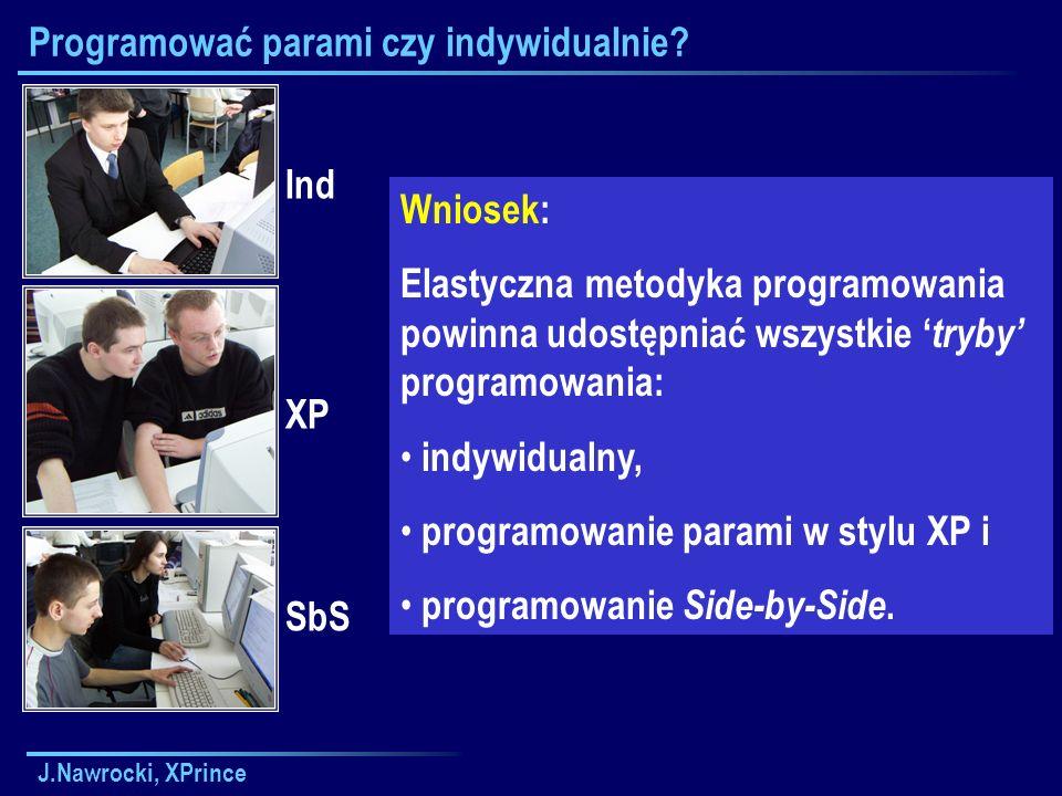 J.Nawrocki, XPrince Programować parami czy indywidualnie.