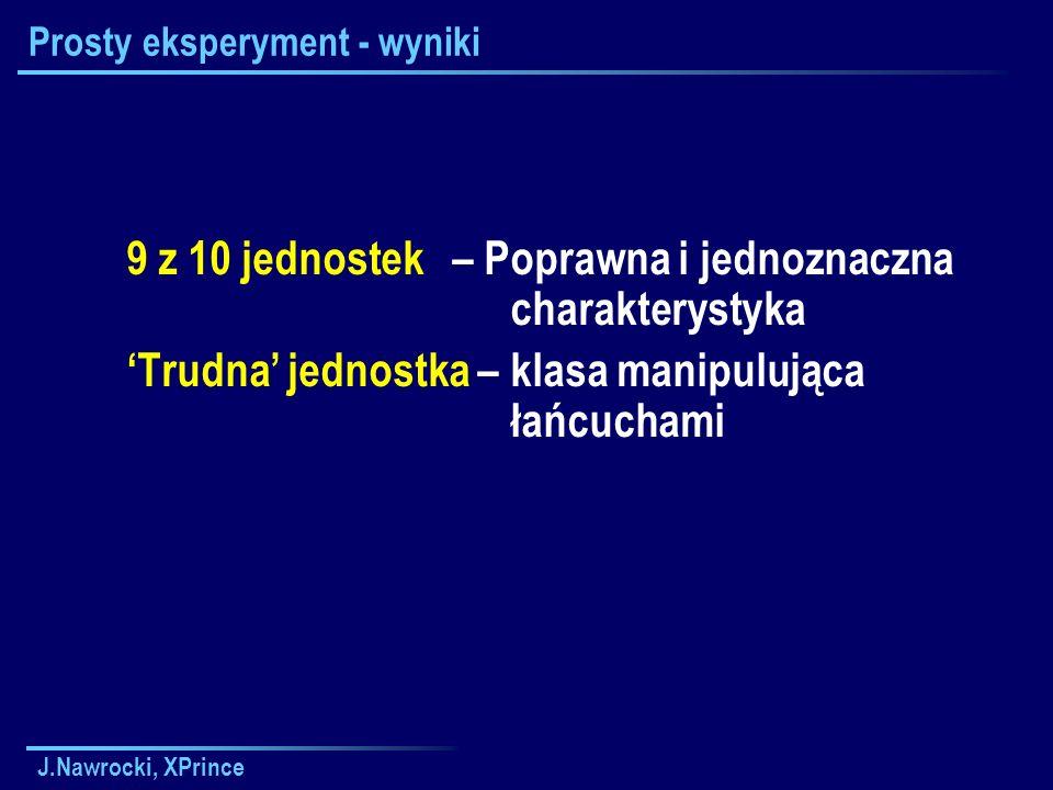 J.Nawrocki, XPrince Prosty eksperyment - wyniki 9 z 10 jednostek – Poprawna i jednoznaczna charakterystyka Trudna jednostka – klasa manipulująca łańcuchami