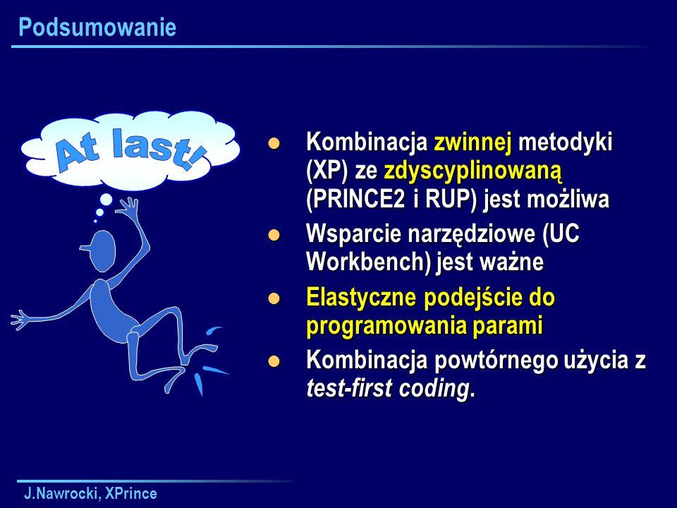 J.Nawrocki, XPrince Podsumowanie Kombinacja zwinnej metodyki (XP) ze zdyscyplinowaną (PRINCE2 i RUP) jest możliwa Kombinacja zwinnej metodyki (XP) ze zdyscyplinowaną (PRINCE2 i RUP) jest możliwa Wsparcie narzędziowe (UC Workbench) jest ważne Wsparcie narzędziowe (UC Workbench) jest ważne Elastyczne podejście do programowania parami Elastyczne podejście do programowania parami Kombinacja powtórnego użycia z test-first coding.
