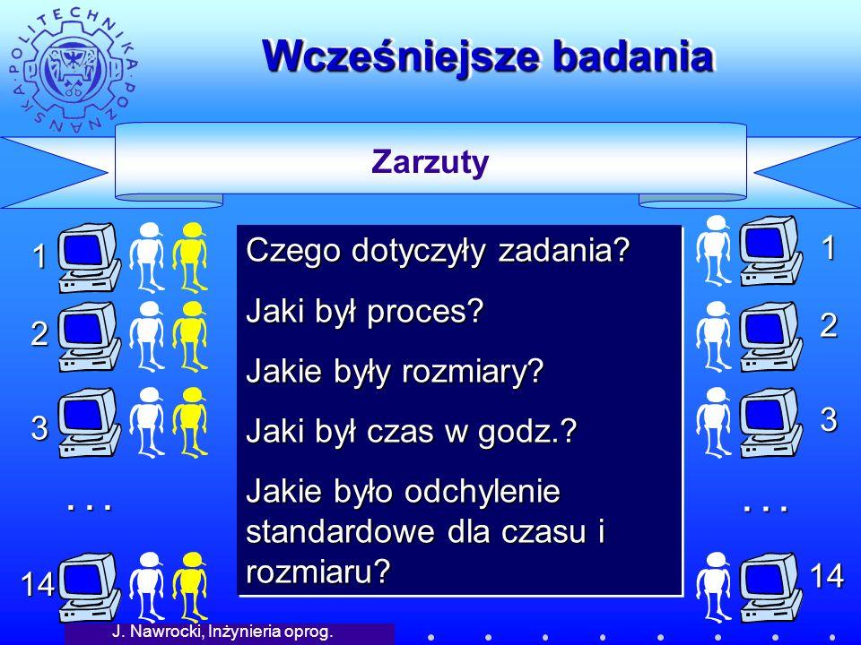J. Nawrocki, Inżynieria oprog. Wcześniejsze badania Zarzuty 14 1 2 3...