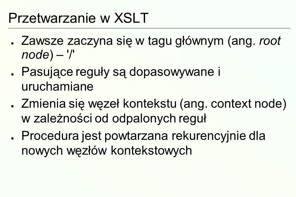 Prosty plik XSLT i reguły <xsl:stylesheet xmlns:xsl=