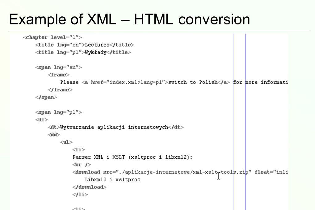 Tylko po to jest ten XSLT? Język, który umożliwia konwersję z XML do HTML! Umożliwia skupienie się na treści strony, a nie jej wyglądzie