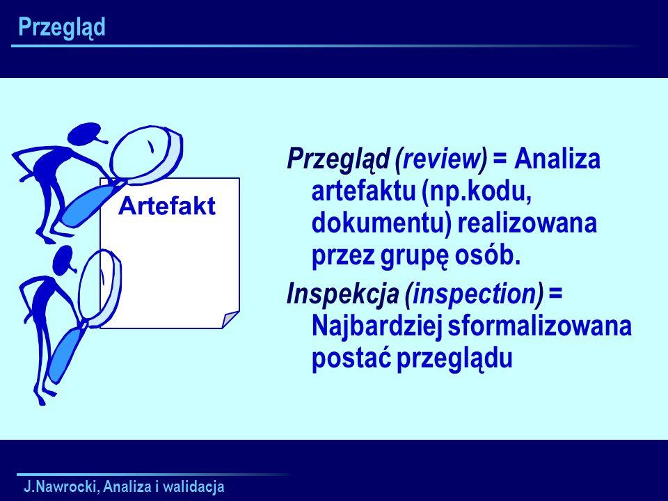 J.Nawrocki, Analiza i walidacja Artefakt Przegląd Przegląd (review) = Analiza artefaktu (np.kodu, dokumentu) realizowana przez grupę osób. Inspekcja (