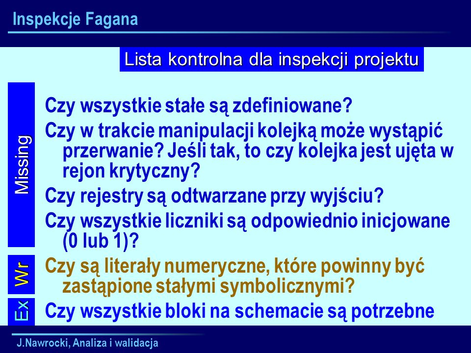 J.Nawrocki, Analiza i walidacja Inspekcje Fagana Czy wszystkie stałe są zdefiniowane? Czy w trakcie manipulacji kolejką może wystąpić przerwanie? Jeśl