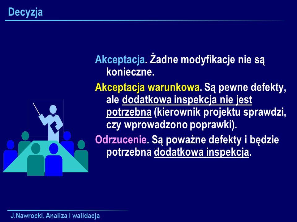 J.Nawrocki, Analiza i walidacja Decyzja Akceptacja. Żadne modyfikacje nie są konieczne. Akceptacja warunkowa. Są pewne defekty, ale dodatkowa inspekcj