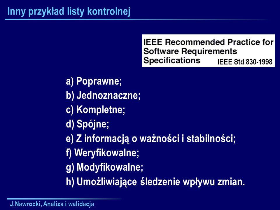 J.Nawrocki, Analiza i walidacja Inny przykład listy kontrolnej a) Poprawne; b) Jednoznaczne; c) Kompletne; d) Spójne; e) Z informacją o ważności i sta