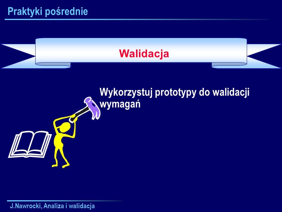 J.Nawrocki, Analiza i walidacja Praktyki pośrednie Wykorzystuj prototypy do walidacji wymagań Walidacja