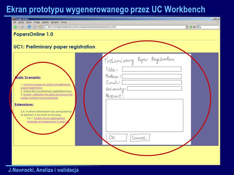 J.Nawrocki, Analiza i walidacja Ekran prototypu wygenerowanego przez UC Workbench