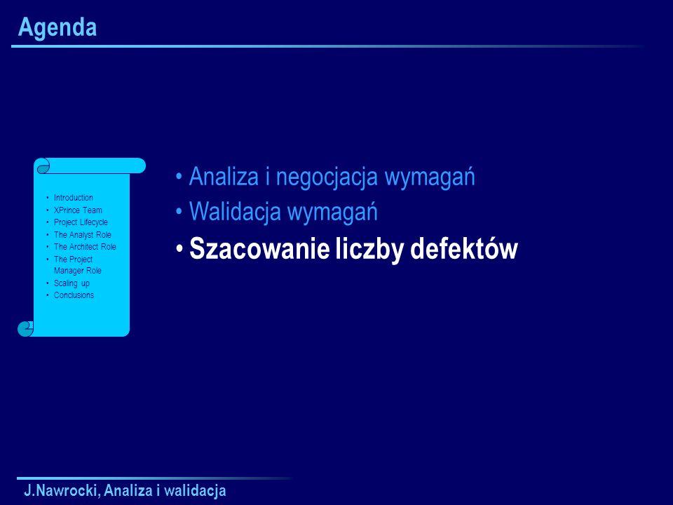 J.Nawrocki, Analiza i walidacja Agenda Analiza i negocjacja wymagań Walidacja wymagań Szacowanie liczby defektów Introduction XPrince Team Project Lif
