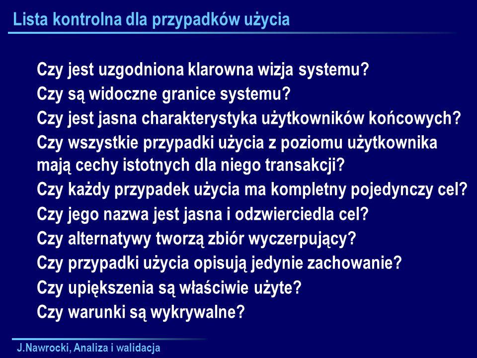 J.Nawrocki, Analiza i walidacja Lista kontrolna dla przypadków użycia Czy jest uzgodniona klarowna wizja systemu? Czy są widoczne granice systemu? Czy