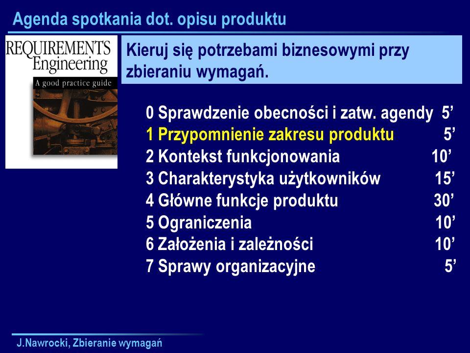 J.Nawrocki, Zbieranie wymagań Agenda spotkania dot. opisu produktu 0 Sprawdzenie obecności i zatw. agendy 5 1 Przypomnienie zakresu produktu 5 2 Konte
