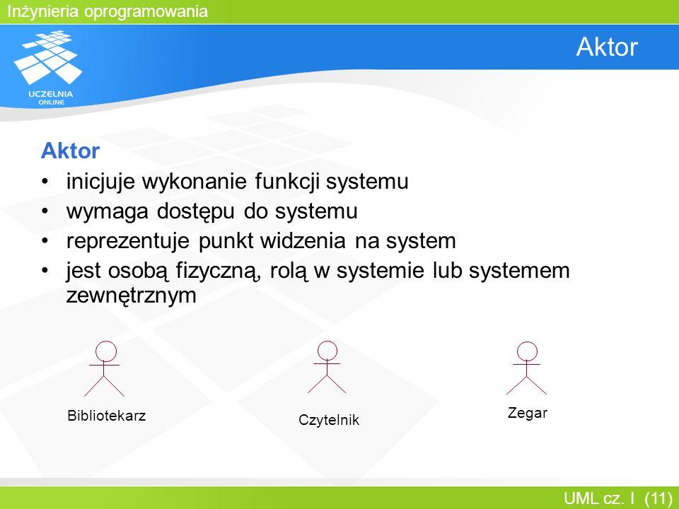 Inżynieria oprogramowania UML cz. I (11) Aktor inicjuje wykonanie funkcji systemu wymaga dostępu do systemu reprezentuje punkt widzenia na system jest