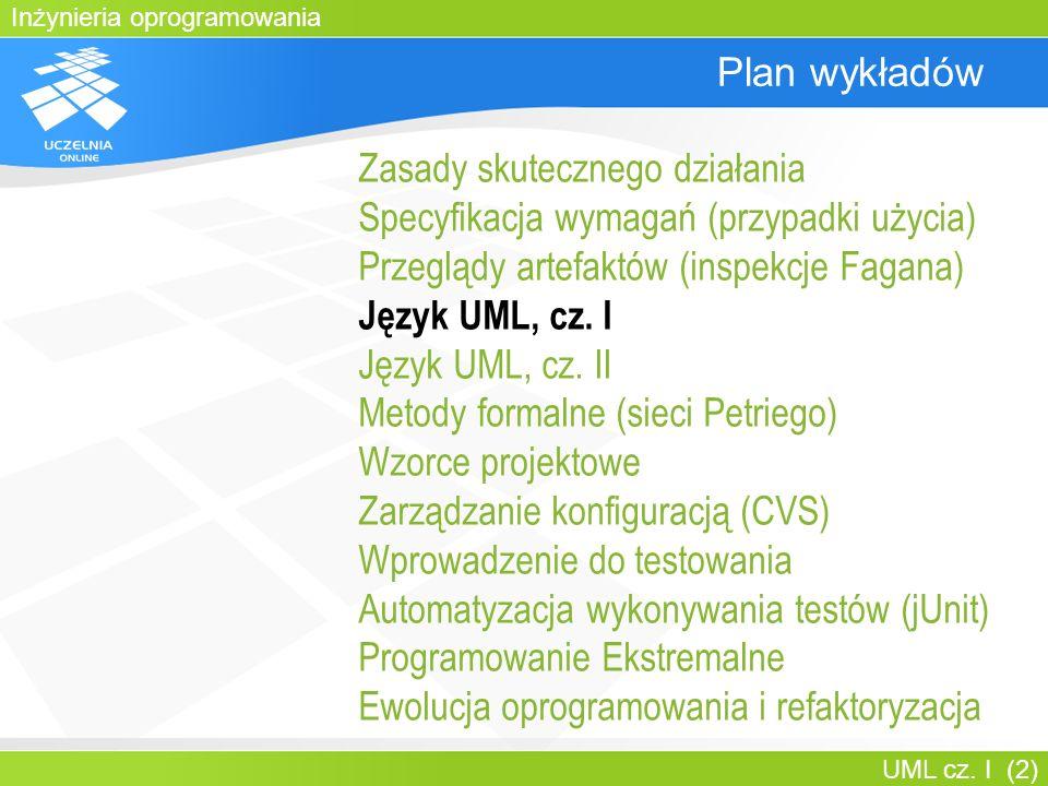 Inżynieria oprogramowania UML cz. I (2) Plan wykładów Zasady skutecznego działania Specyfikacja wymagań (przypadki użycia) Przeglądy artefaktów (inspe