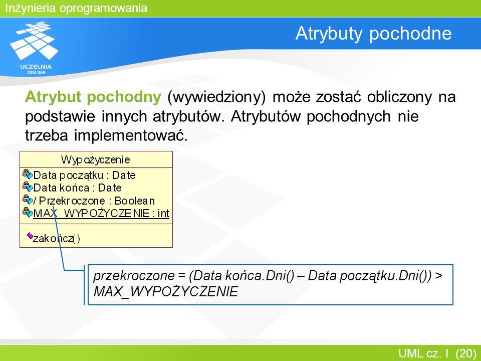 Inżynieria oprogramowania UML cz. I (20) Atrybuty pochodne Atrybut pochodny (wywiedziony) może zostać obliczony na podstawie innych atrybutów. Atrybut