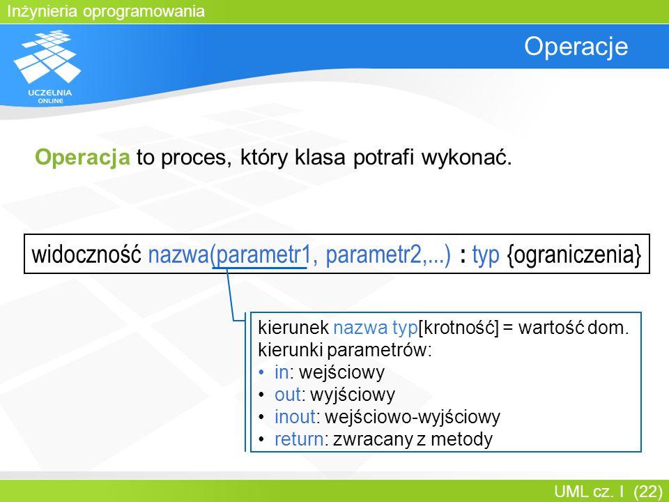 Inżynieria oprogramowania UML cz. I (22) Operacje widoczność nazwa(parametr1, parametr2,...) : typ {ograniczenia} kierunek nazwa typ[krotność] = warto