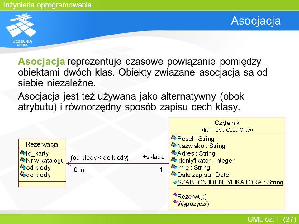 Inżynieria oprogramowania UML cz. I (27) Asocjacja Asocjacja reprezentuje czasowe powiązanie pomiędzy obiektami dwóch klas. Obiekty związane asocjacją