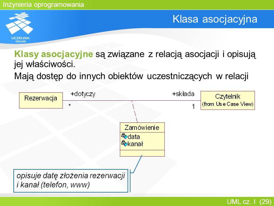 Inżynieria oprogramowania UML cz. I (29) Klasa asocjacyjna Klasy asocjacyjne są związane z relacją asocjacji i opisują jej właściwości. Mają dostęp do
