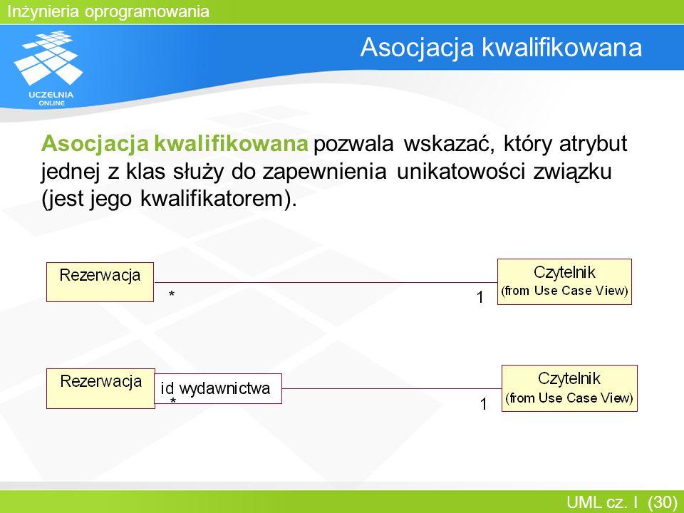 Inżynieria oprogramowania UML cz. I (30) Asocjacja kwalifikowana Asocjacja kwalifikowana pozwala wskazać, który atrybut jednej z klas służy do zapewni