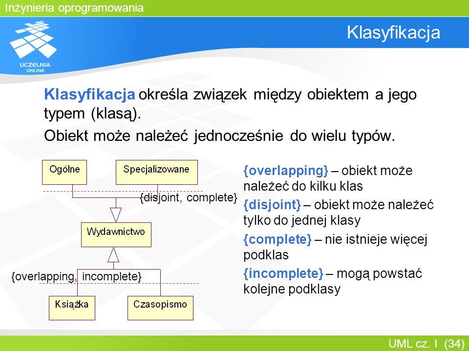 Inżynieria oprogramowania UML cz. I (34) Klasyfikacja Klasyfikacja określa związek między obiektem a jego typem (klasą). Obiekt może należeć jednocześ