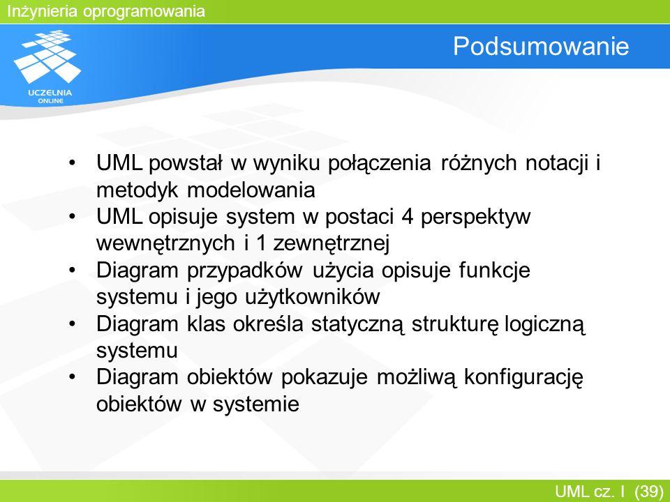 Inżynieria oprogramowania UML cz. I (39) Podsumowanie UML powstał w wyniku połączenia różnych notacji i metodyk modelowania UML opisuje system w posta